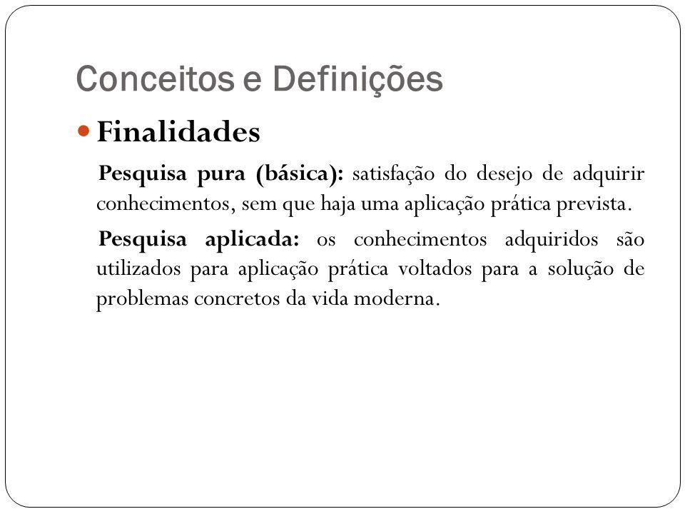 Conceitos e Definições Finalidades Pesquisa pura (básica): satisfação do desejo de adquirir conhecimentos, sem que haja uma aplicação prática prevista.