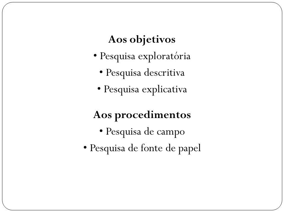 Aos objetivos Pesquisa exploratória Pesquisa descritiva Pesquisa explicativa Aos procedimentos Pesquisa de campo Pesquisa de fonte de papel