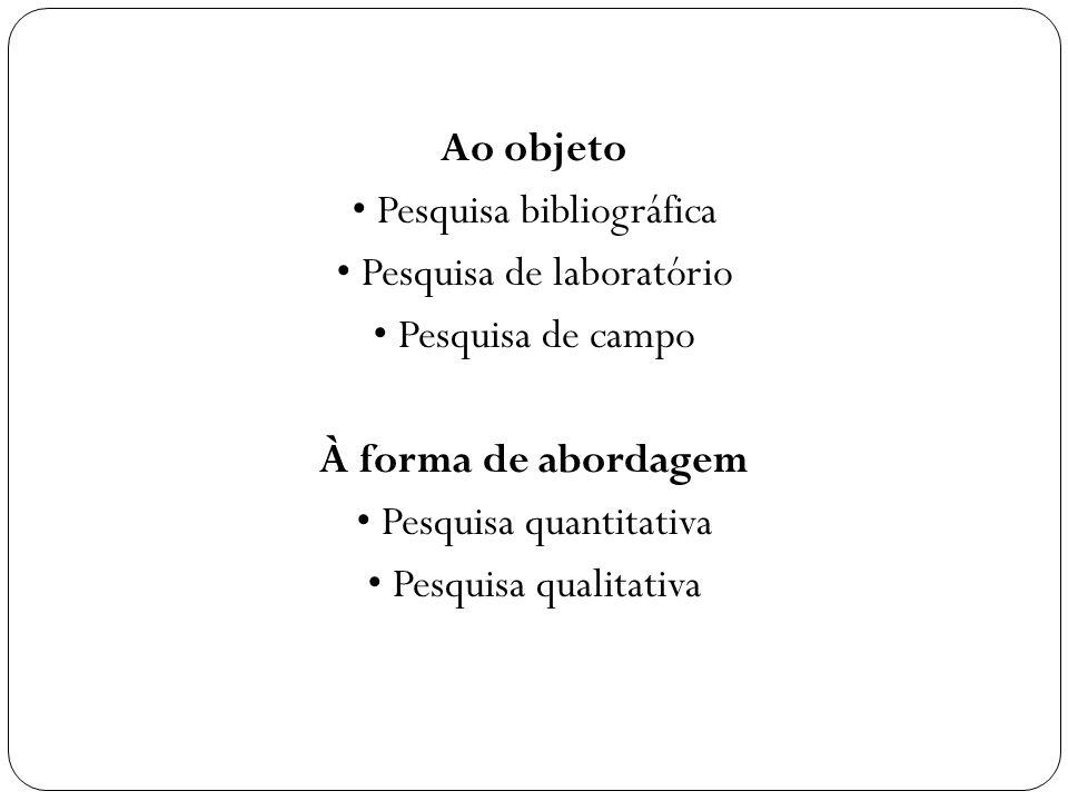 Ao objeto Pesquisa bibliográfica Pesquisa de laboratório Pesquisa de campo À forma de abordagem Pesquisa quantitativa Pesquisa qualitativa