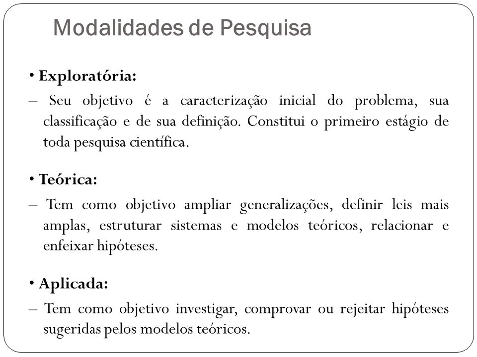 Modalidades de Pesquisa Exploratória: – Seu objetivo é a caracterização inicial do problema, sua classificação e de sua definição.
