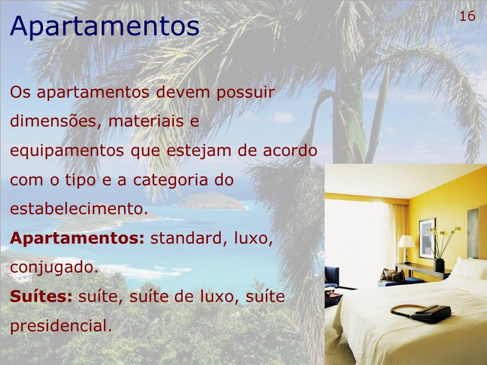 16 Apartamentos Os apartamentos devem possuir dimensões, materiais e equipamentos que estejam de acordo com o tipo e a categoria do estabelecimento. A