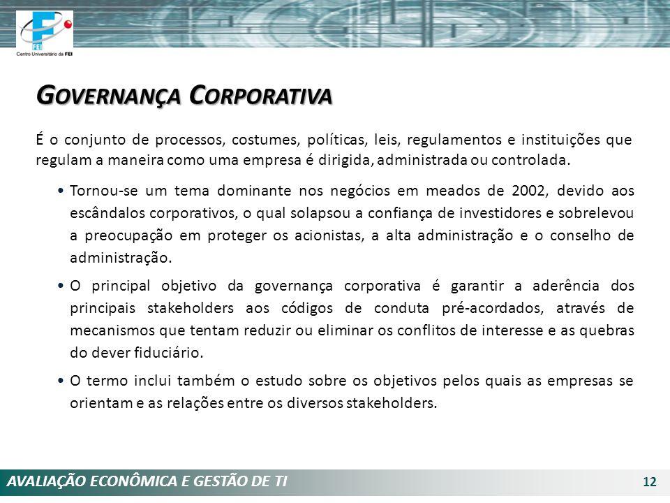 AVALIAÇÃO ECONÔMICA E GESTÃO DE TI 12 G OVERNANÇA C ORPORATIVA É o conjunto de processos, costumes, políticas, leis, regulamentos e instituições que r