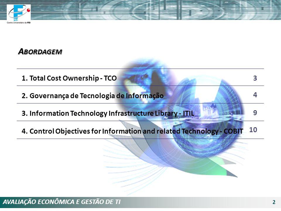 AVALIAÇÃO ECONÔMICA E GESTÃO DE TI 2 1. Total Cost Ownership - TCO 2. Governança de Tecnologia de Informação 3. Information Technology Infrastructure
