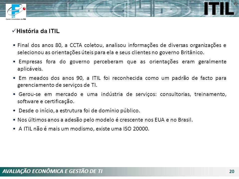 AVALIAÇÃO ECONÔMICA E GESTÃO DE TI 20 História da ITIL Final dos anos 80, a CCTA coletou, analisou informações de diversas organizações e selecionou a