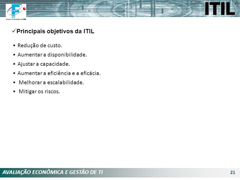 AVALIAÇÃO ECONÔMICA E GESTÃO DE TI 21 Principais objetivos da ITIL Redução de custo. Aumentar a disponibilidade. Ajustar a capacidade. Aumentar a efic