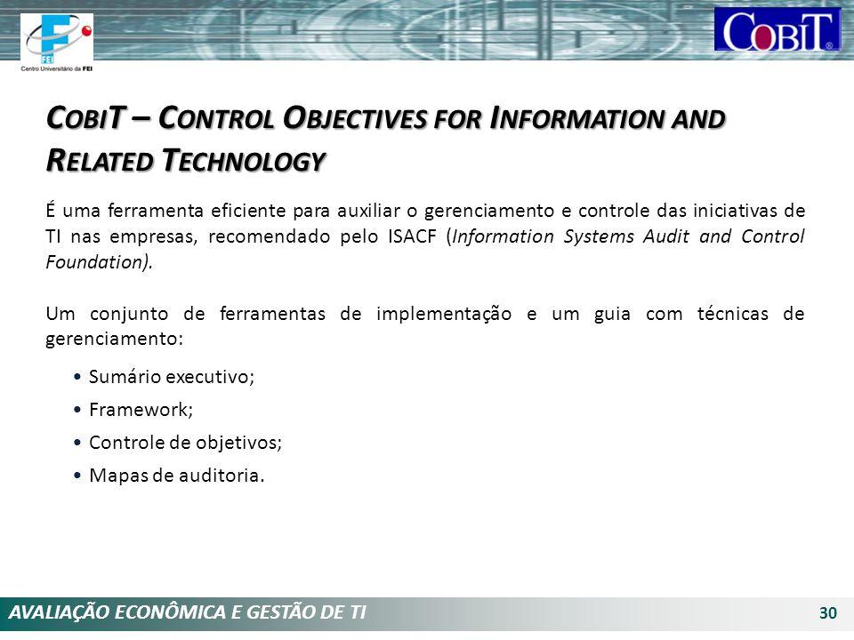 AVALIAÇÃO ECONÔMICA E GESTÃO DE TI 30 É uma ferramenta eficiente para auxiliar o gerenciamento e controle das iniciativas de TI nas empresas, recomend