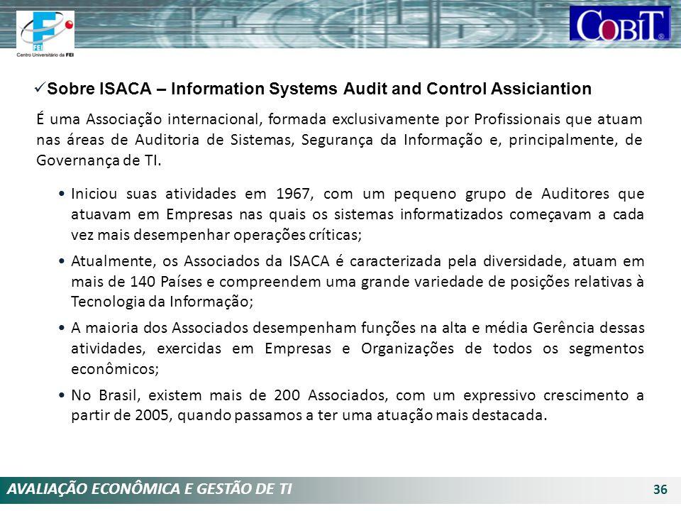 AVALIAÇÃO ECONÔMICA E GESTÃO DE TI 36 Iniciou suas atividades em 1967, com um pequeno grupo de Auditores que atuavam em Empresas nas quais os sistemas