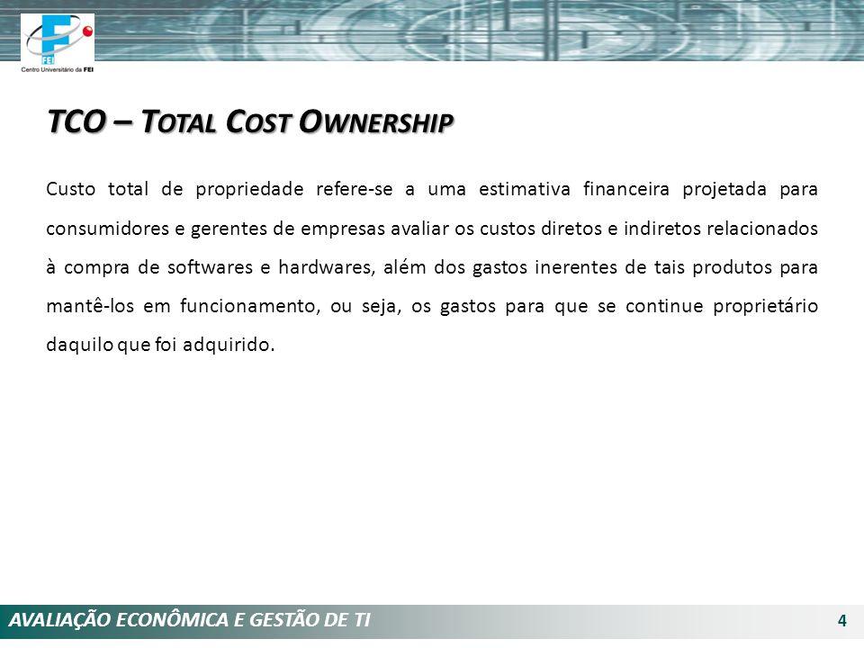AVALIAÇÃO ECONÔMICA E GESTÃO DE TI 4 TCO – T OTAL C OST O WNERSHIP Custo total de propriedade refere-se a uma estimativa financeira projetada para con