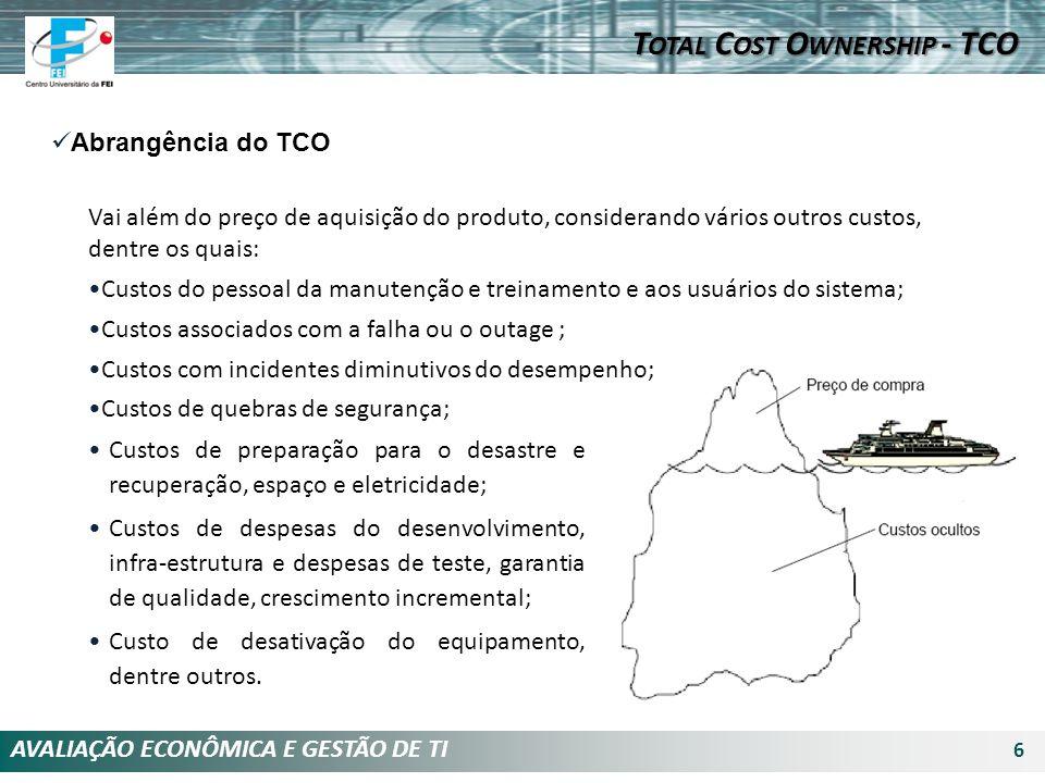 AVALIAÇÃO ECONÔMICA E GESTÃO DE TI 6 Abrangência do TCO Vai além do preço de aquisição do produto, considerando vários outros custos, dentre os quais: