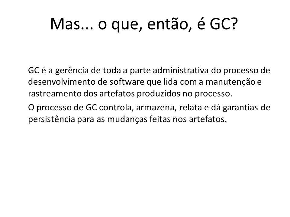 GC é a gerência de toda a parte administrativa do processo de desenvolvimento de software que lida com a manutenção e rastreamento dos artefatos produ