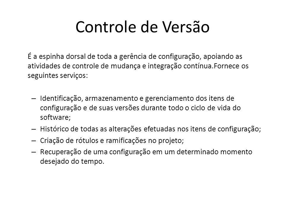 Controle de Versão É a espinha dorsal de toda a gerência de configuração, apoiando as atividades de controle de mudança e integração contínua.Fornece