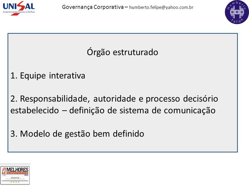 Governança Corporativa – humberto.felipe@yahoo.com.br Órgão estruturado 1. Equipe interativa 2. Responsabilidade, autoridade e processo decisório esta