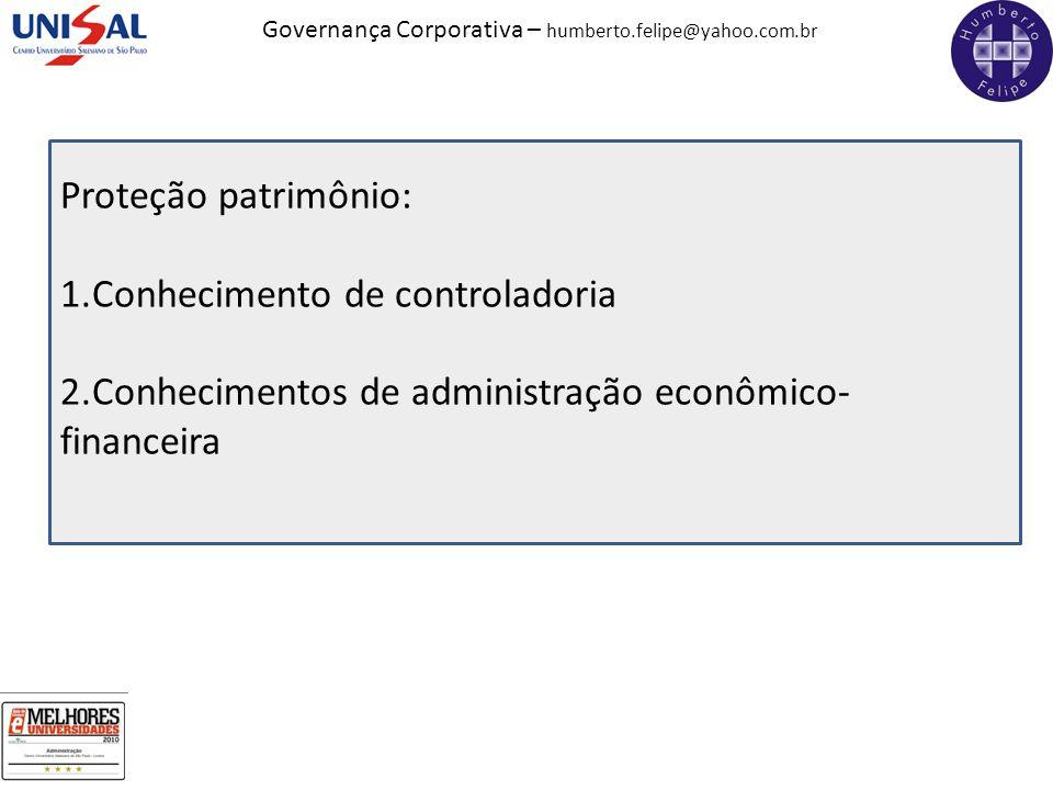 Governança Corporativa – humberto.felipe@yahoo.com.br Proteção patrimônio: 1.Conhecimento de controladoria 2.Conhecimentos de administração econômico-