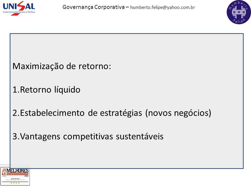 Governança Corporativa – humberto.felipe@yahoo.com.br Maximização de retorno: 1.Retorno líquido 2.Estabelecimento de estratégias (novos negócios) 3.Va