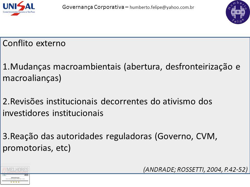 Governança Corporativa – humberto.felipe@yahoo.com.br Conflito externo 1.Mudanças macroambientais (abertura, desfronteirização e macroalianças) 2.Revi