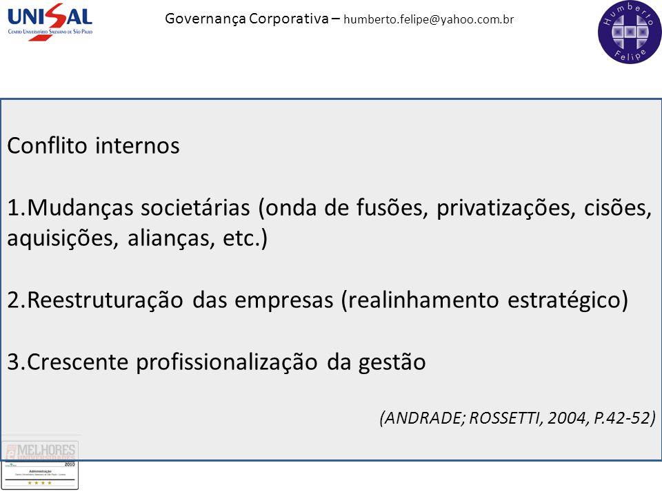 Governança Corporativa – humberto.felipe@yahoo.com.br Conflito internos 1.Mudanças societárias (onda de fusões, privatizações, cisões, aquisições, ali