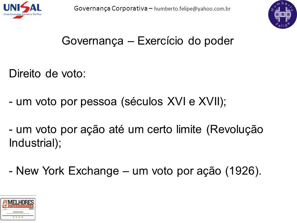 Governança Corporativa – humberto.felipe@yahoo.com.br Governança – Exercício do poder Direito de voto: - um voto por pessoa (séculos XVI e XVII); - um