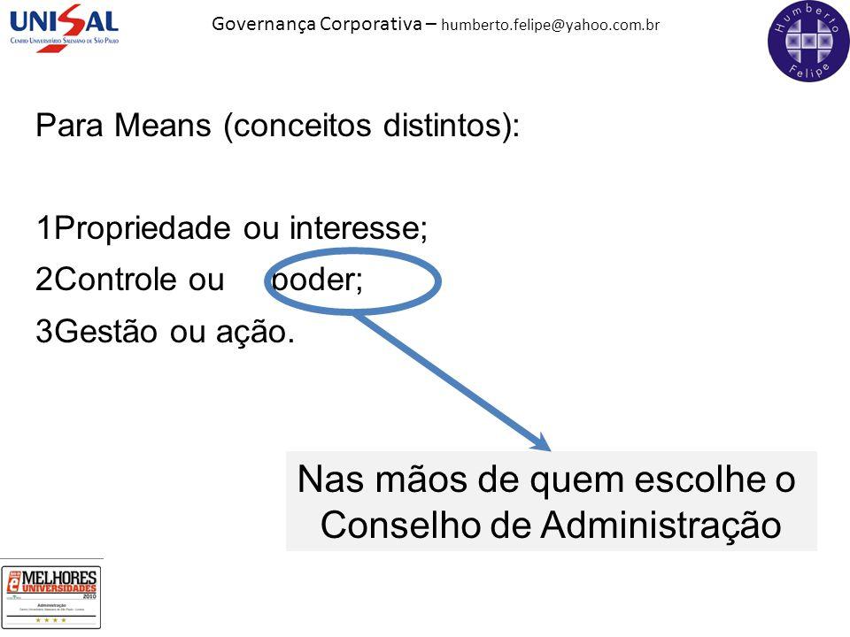 Governança Corporativa – humberto.felipe@yahoo.com.br Para Means (conceitos distintos): 1Propriedade ou interesse; 2Controle ou poder; 3Gestão ou ação