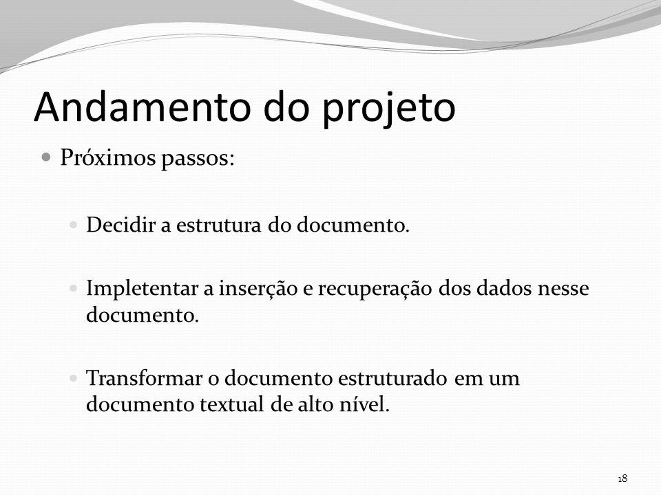 Andamento do projeto Próximos passos: Decidir a estrutura do documento.