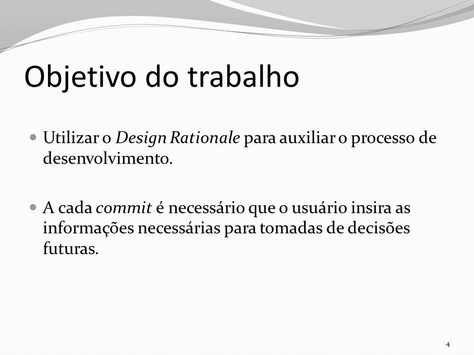 Objetivo do trabalho Utilizar o Design Rationale para auxiliar o processo de desenvolvimento.