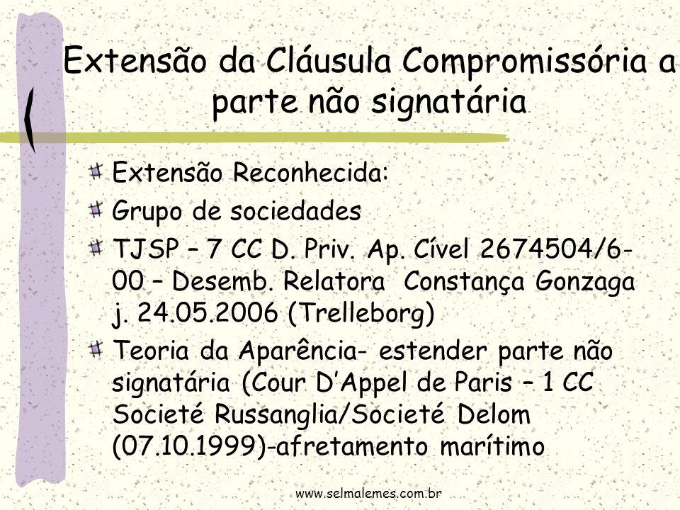 Extensão Reconhecida: Grupo de sociedades TJSP – 7 CC D. Priv. Ap. Cível 2674504/6- 00 – Desemb. Relatora Constança Gonzaga j. 24.05.2006 (Trelleborg)