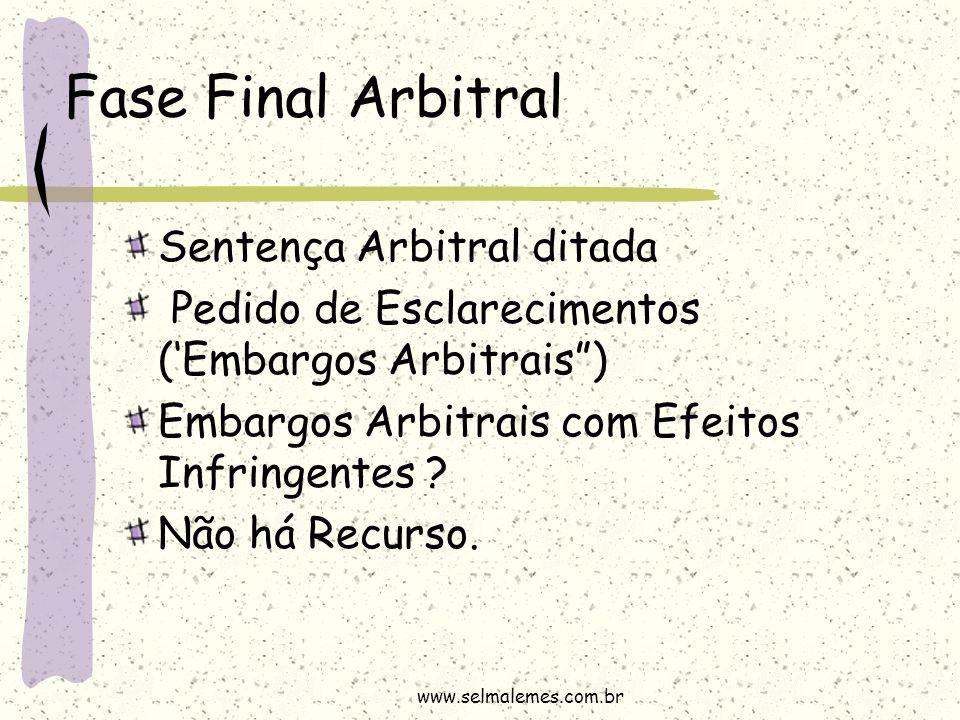 """Fase Final Arbitral Sentença Arbitral ditada Pedido de Esclarecimentos ('Embargos Arbitrais"""") Embargos Arbitrais com Efeitos Infringentes ? Não há Rec"""