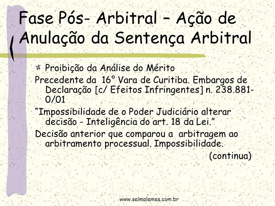 Fase Pós- Arbitral – Ação de Anulação da Sentença Arbitral Proibição da Análise do Mérito Precedente da 16° Vara de Curitiba. Embargos de Declaração [