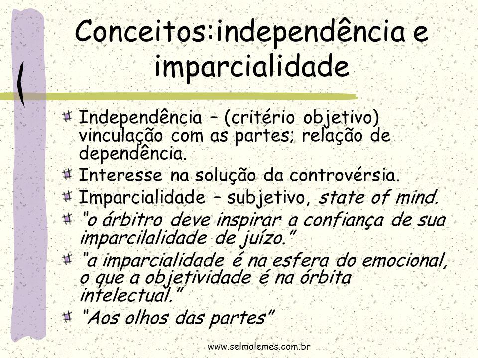 Conceitos:independência e imparcialidade Independência – (critério objetivo) vinculação com as partes; relação de dependência. Interesse na solução da