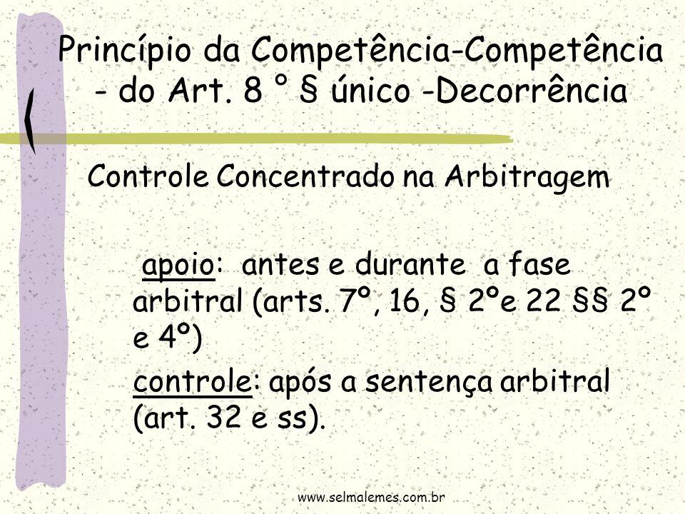 Princípio da Competência-Competência - do Art. 8 ° § único -Decorrência Controle Concentrado na Arbitragem apoio: antes e durante a fase arbitral (art