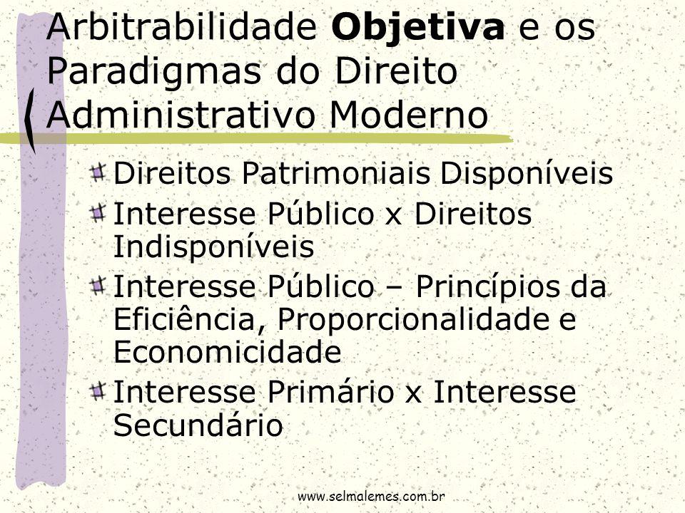 Arbitrabilidade Objetiva e os Paradigmas do Direito Administrativo Moderno Direitos Patrimoniais Disponíveis Interesse Público x Direitos Indisponívei