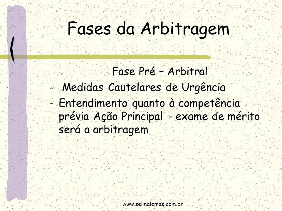 Fases da Arbitragem Fase Pré – Arbitral – Medidas Cautelares de Urgência – Entendimento quanto à competência prévia Ação Principal - exame de mérito s