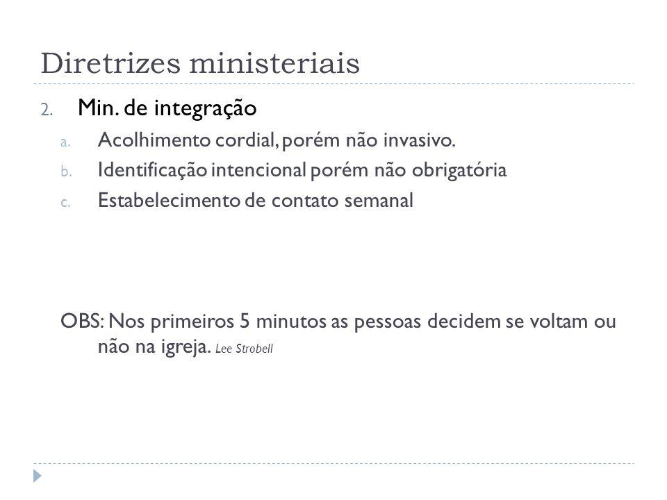 Diretrizes ministeriais 2. Min. de integração a.