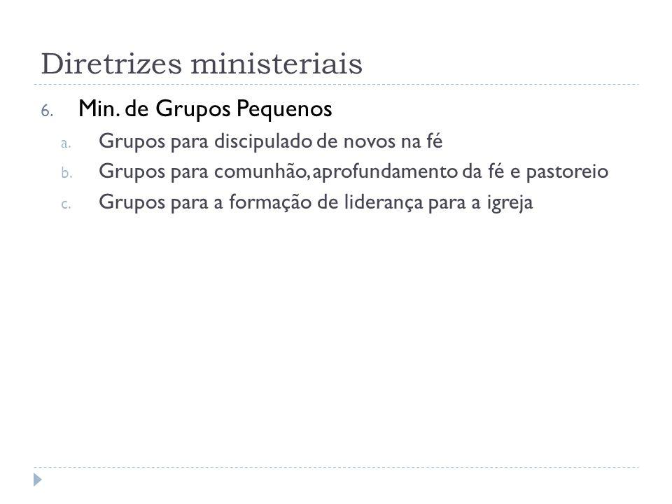 Diretrizes ministeriais 6. Min. de Grupos Pequenos a.
