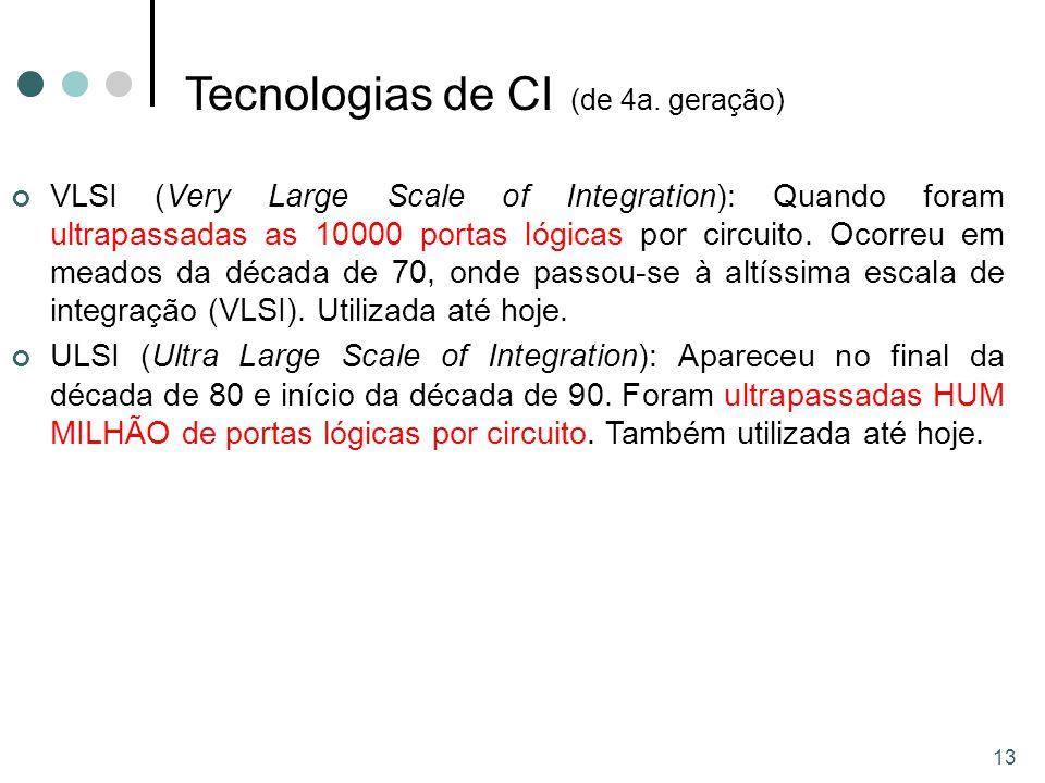 13 VLSI (Very Large Scale of Integration): Quando foram ultrapassadas as 10000 portas lógicas por circuito.