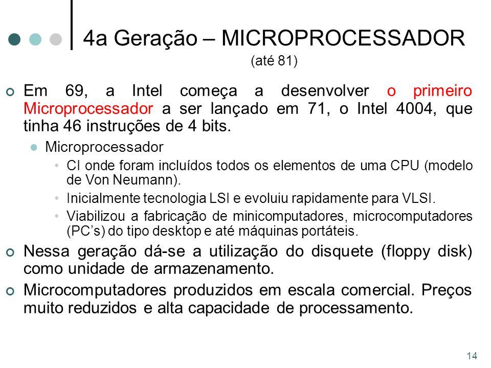 14 4a Geração – MICROPROCESSADOR (até 81) Em 69, a Intel começa a desenvolver o primeiro Microprocessador a ser lançado em 71, o Intel 4004, que tinha 46 instruções de 4 bits.