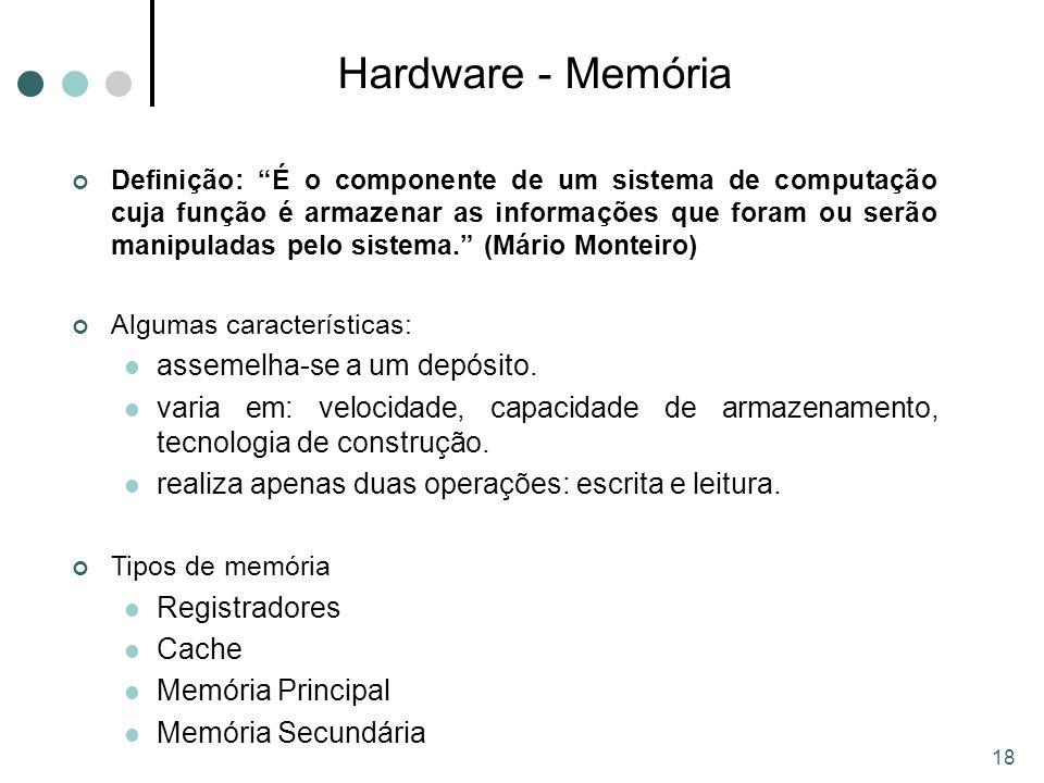 18 Hardware - Memória Definição: É o componente de um sistema de computação cuja função é armazenar as informações que foram ou serão manipuladas pelo sistema. (Mário Monteiro) Algumas características: assemelha-se a um depósito.