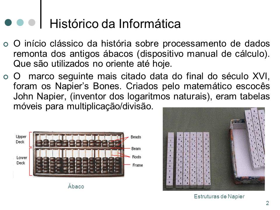 3 Histórico da Informática No século XVII, com base nas tabelas de Napier e com a invenção dos logaritmos, Patridge criou um instrumento mais sofisticado para efetuar contas: a régua de cálculo.