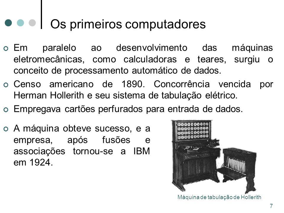 7 Os primeiros computadores Em paralelo ao desenvolvimento das máquinas eletromecânicas, como calculadoras e teares, surgiu o conceito de processamento automático de dados.