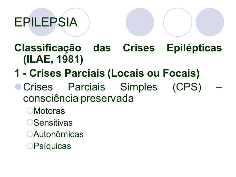 EPILEPSIA Classificação das Crises Epilépticas (ILAE, 1981) 1 - Crises Parciais (Locais ou Focais) Crises Parciais Simples (CPS) – consciência preservada  Motoras  Sensitivas  Autonômicas  Psíquicas