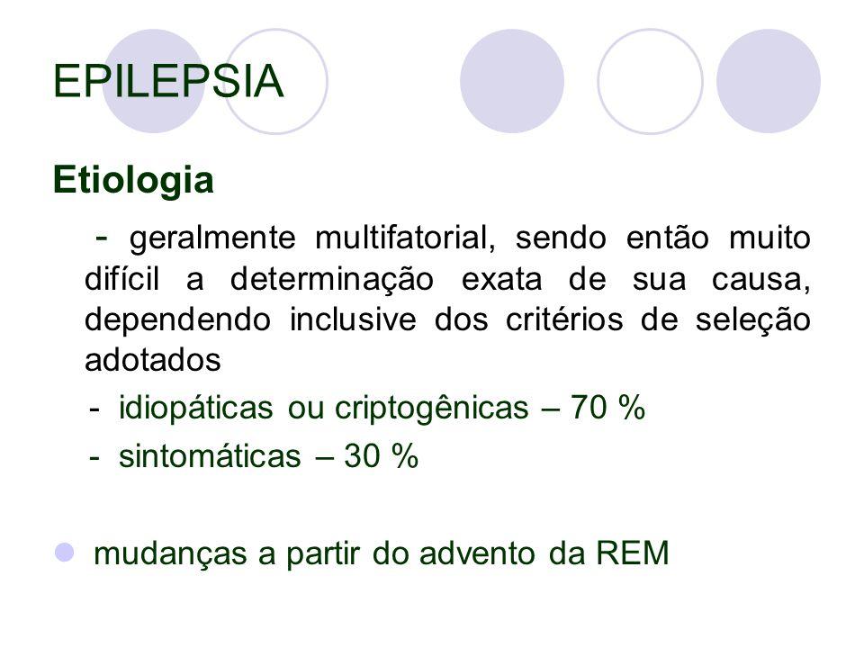 EPILEPSIA Etiologia - geralmente multifatorial, sendo então muito difícil a determinação exata de sua causa, dependendo inclusive dos critérios de seleção adotados - idiopáticas ou criptogênicas – 70 % - sintomáticas – 30 % mudanças a partir do advento da REM