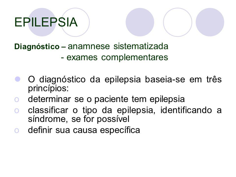 EPILEPSIA Diagnóstico – anamnese sistematizada - exames complementares O diagnóstico da epilepsia baseia-se em três princípios: odeterminar se o paciente tem epilepsia oclassificar o tipo da epilepsia, identificando a síndrome, se for possível odefinir sua causa específica