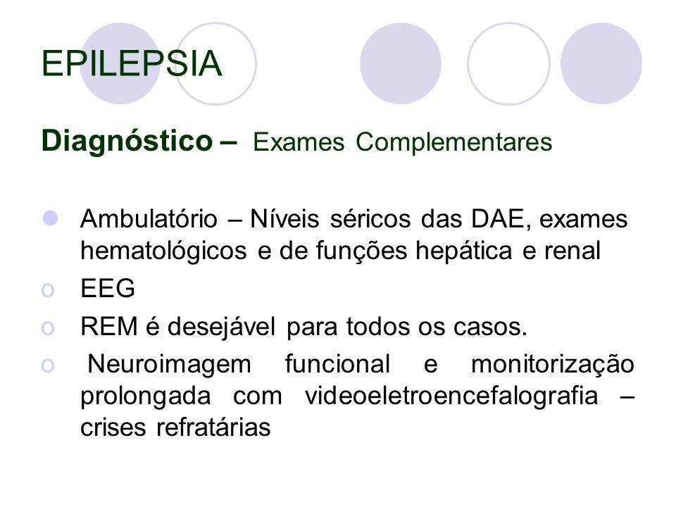 EPILEPSIA Diagnóstico – Exames Complementares Ambulatório – Níveis séricos das DAE, exames hematológicos e de funções hepática e renal oEEG oREM é desejável para todos os casos.