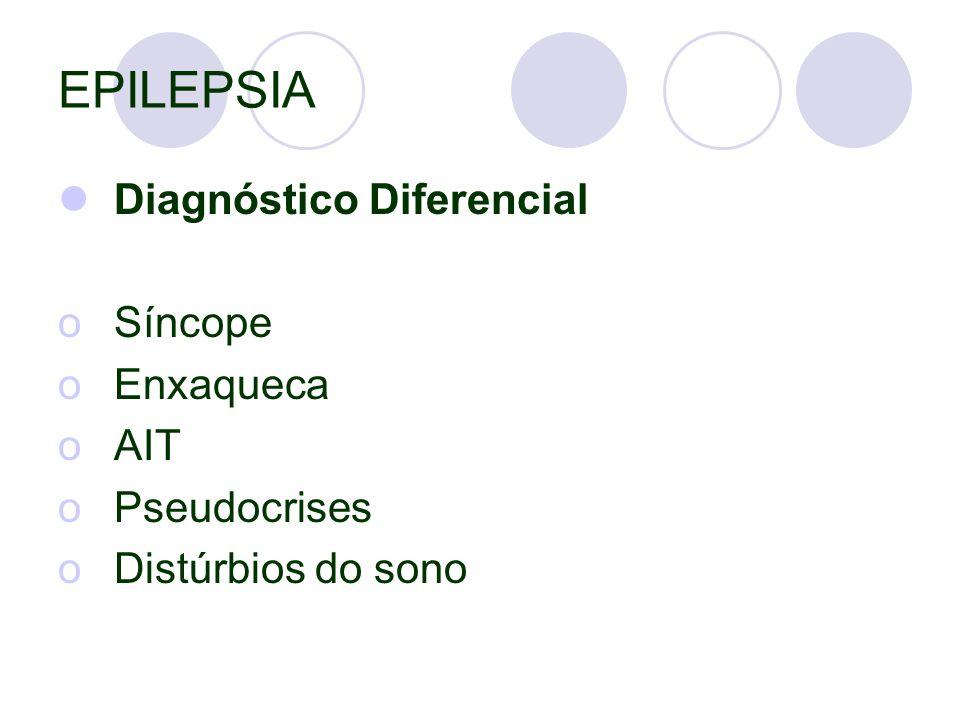 EPILEPSIA Diagnóstico Diferencial oSíncope oEnxaqueca oAIT oPseudocrises oDistúrbios do sono