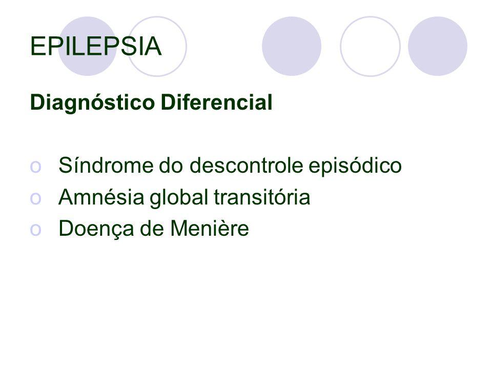EPILEPSIA Diagnóstico Diferencial oSíndrome do descontrole episódico oAmnésia global transitória oDoença de Menière