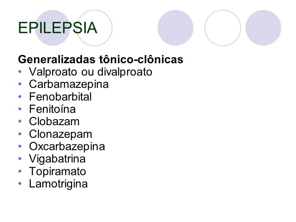 EPILEPSIA Generalizadas tônico-clônicas Valproato ou divalproato Carbamazepina Fenobarbital Fenitoína Clobazam Clonazepam Oxcarbazepina Vigabatrina Topiramato Lamotrigina