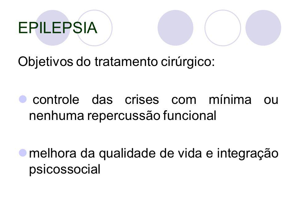 EPILEPSIA Objetivos do tratamento cirúrgico: controle das crises com mínima ou nenhuma repercussão funcional melhora da qualidade de vida e integração psicossocial