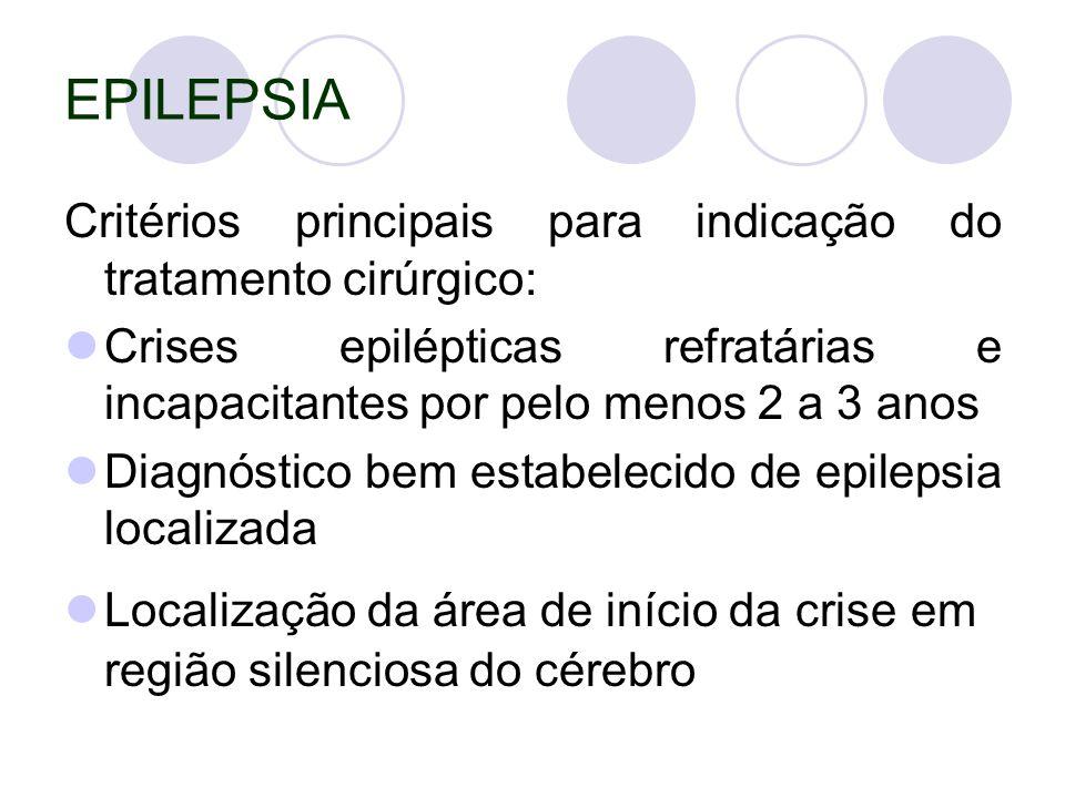 EPILEPSIA Critérios principais para indicação do tratamento cirúrgico: Crises epilépticas refratárias e incapacitantes por pelo menos 2 a 3 anos Diagnóstico bem estabelecido de epilepsia localizada Localização da área de início da crise em região silenciosa do cérebro