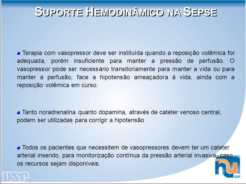 S UPORTE H EMODINÂMICO NA S EPSE Terapia com vasopressor deve ser instituída quando a reposição volêmica for adequada, porém insuficiente para manter
