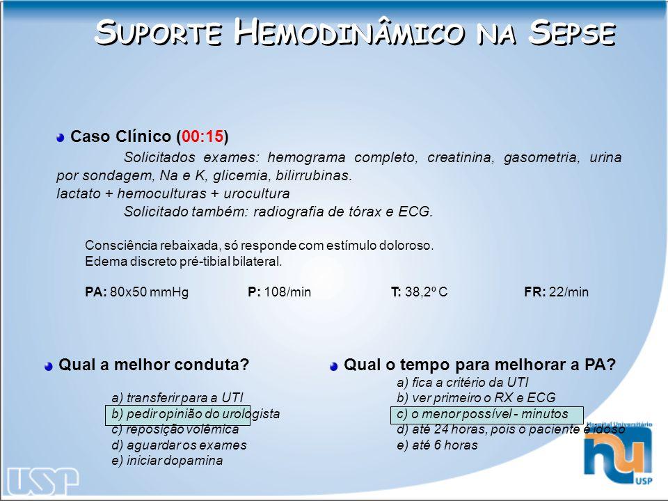 Caso Clínico (00:15) Solicitados exames: hemograma completo, creatinina, gasometria, urina por sondagem, Na e K, glicemia, bilirrubinas. lactato + hem