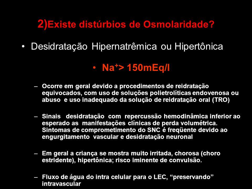 Desidratação Hipernatrêmica ou Hipertônica Na + > 150mEq/l –Ocorre em geral devido a procedimentos de reidratação equivocados, com uso de soluções pol
